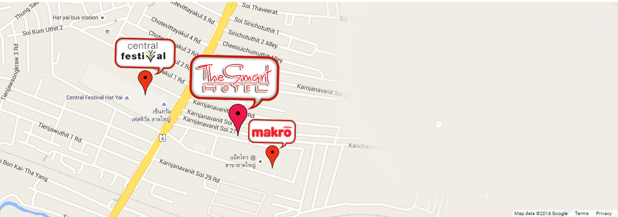 Map The Smart Hotels in HatYai
